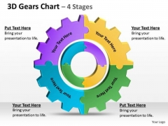 Strategic Management 3d Gears Chart 4 Stages Marketing Diagram