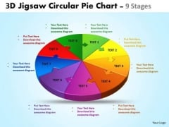 Strategic Management 3d Jigsaw Circular Pie Chart 9 Stages Business Diagram