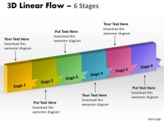 Strategic Management 3d Linear Flow 6 Stages Business Cycle Diagram