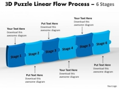 Strategic Management 3d Puzzle Linear Flow Process 6 Stages Sales Diagram