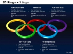 Strategic Management 3d Rings 5 Stages Business Diagram
