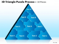 Strategic Management 3d Triangle Puzzle Process 10 Pieces Business Diagram