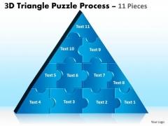 Strategic Management 3d Triangle Puzzle Process 11 Pieces Business Diagram