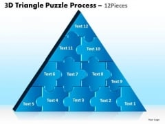 Strategic Management 3d Triangle Puzzle Process 12 Pieces Business Diagram