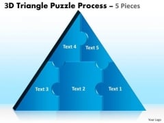Strategic Management 3d Triangle Puzzle Process 5 Pieces Business Diagram