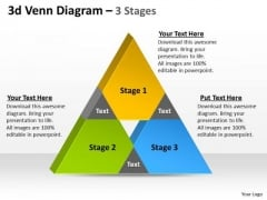 Strategic Management 3d Venn Diagram 3 Stages Sales Diagram