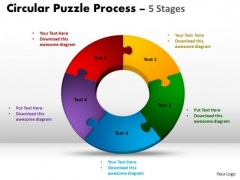 Strategic Management 5 Components Circular Puzzle Process Strategy Diagram