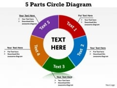 Strategic Management 5 Parts Circle Diagram Business Diagram