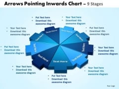 Strategic Management Arrows Pointing Inwards Chart 9 Stages Strategy Diagram