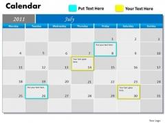 Strategic Management Blue Calendar 2011 Marketing Diagram