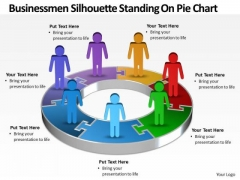 Strategic Management Busines Men Silhouettes Standing On Pie Chart Business Diagram