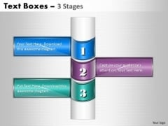 Strategic Management Business Text Boxes 3 Stages Consulting Diagram
