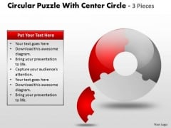 Strategic Management Circular Puzzle With Center Diagram And 3 Pieces Sales Diagram