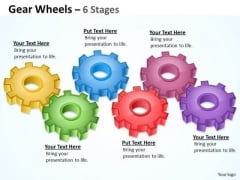 Strategic Management Gear Wheels 6 Stages Consulting Diagram