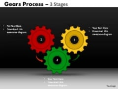 Strategic Management Gears Process 3 Stages Consulting Diagram