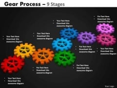 Strategic Management Gears Process 9 Stages Business Cycle Diagram