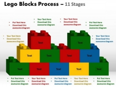 Strategic Management Lego Blocks Process 11 Stages Business Cycle Diagram