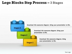 Strategic Management Lego Blocks Step Process 3 Stages Business Cycle Diagram