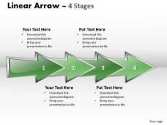 Strategic Management Linear Arrow 4 Stages Sales Diagram