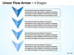 Strategic Management Linear Flow Arrow 4 Stages Business Cycle Diagram