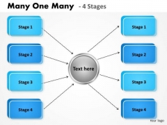 Strategic Management Many One Many 4 Stages Sales Diagram