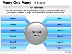 Strategic Management Many One Many 6 Stages Sales Diagram