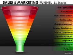 Strategic Management Multicolored Marketing Funnel Diagram With 11 Stages Business Diagram
