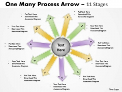 Strategic Management One Many Process Arrow 11 Stages Consulting Diagram