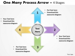 Strategic Management One Many Process Arrow 4 Stages Marketing Diagram