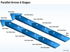 Strategic Management Parallel Arrow 6 Stages Consulting Diagram