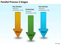 Strategic Management Parallel Process 3 Stages Business Cycle Diagram