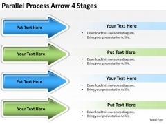 Strategic Management Parallel Process Arrow 4 Stages Marketing Diagram