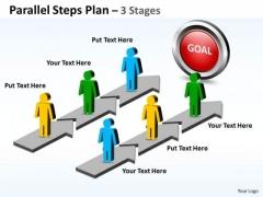 Strategic Management Parallel Steps Plan 3 Stages Style Business Framework Model
