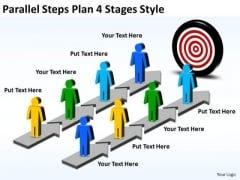 Strategic Management Parallel Steps Plan 4 Stages Style Business Diagram