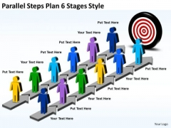 Strategic Management Parallel Steps Plan 6 Stages Style Business Diagram