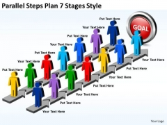 Strategic Management Parallel Steps Plan 7 Stages Style Business Diagram