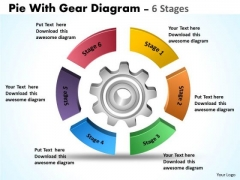 Strategic Management Pie With Gear Diagram 6 Stages Consulting Diagram