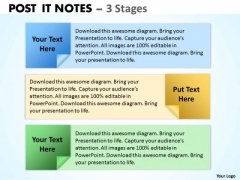 Strategic Management Post It Notes 3 Stages Business Cycle Diagram