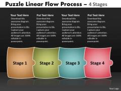 Strategic Management Puzzle Linear Flow Process 4 Stages Business Diagram