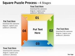 Strategic Management Square Puzzle Process 4 Stages Consulting Diagram