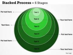 Strategic Management Stacked Process Green 6 Stages Sales Diagram