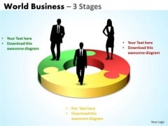 Strategic Management World Business 3 Stages Business Diagram