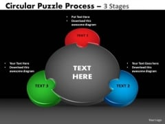 Strategy Diagram 3 Stages Circular Puzzle Process Strategic Management