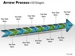 Strategy Diagram 3d Arrow Process 10 Stages Business Diagram