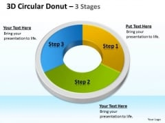 Strategy Diagram 3d Circular Donut 3 Stages Consulting Diagram