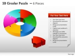 Strategy Diagram 3d Circular Puzzle With Pieces Business Cycle Diagram