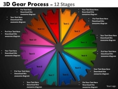 Strategy Diagram 3d Gear Process 12 Stages Business Diagram