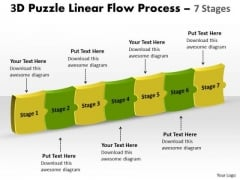 Strategy Diagram 3d Puzzle Linear Flow Process 7 Stages Business Cycle Diagram