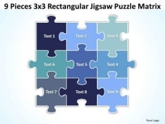 Strategy Diagram 9 Pieces 3x3 Rectangular Jigsaw Puzzle Matrix Business Diagram