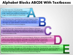 Strategy Diagram Alphabet Blocks With Textboxes Consulting Diagram